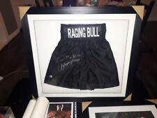 More details for original jake lamotta autographed raging bull signed & framed shorts photo proof