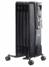 Daewoo 1000W Portable Floor Oil Filled Radiator Heater with Thermostat - Black