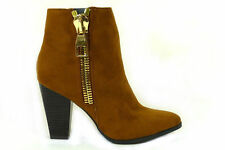 Women's Ankle Cuban Zip Synthetic Leather Boots
