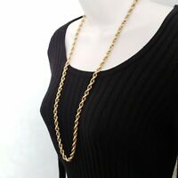 """Monet Long French Rope Chain Necklace Gold Vintage 30"""" x 7mm"""