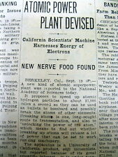 <1930 newspaper EARLIEST REFERENCE 2 ATOMIC ENERGY Public POWER USE Cal Berkeley
