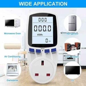 Energy Monitor UK Plug Power Meter LCD Electricity Usage Monitor Socket