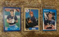 (3) Billy Beane Rookie Card lot 1986 1987 Fleer Glossy Topps Moneyball RC Update