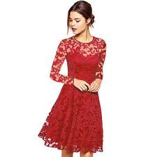 UK Womens Lace Mini Dress Ladies Evening Party Cocktail Bridesmaids Plus Size 16