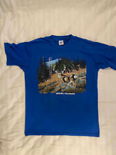 Vintage Meeker Colorado Deer Mountains Single Stitch T Shirt Made in USA Blue XL
