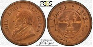 """1898 SOUTH AFRICA 1 PENNY PCGS GENUINE UNC DETAILS """"CLEANED"""" RARE OLD COIN"""