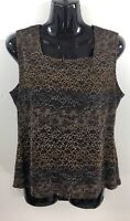 Only Nine Womens Shirt Size Petite Large Brown Sleeveless Dressy Blouse Top Lace