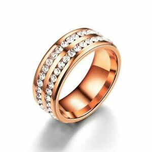 316L Stainless Steel Wedding Silver/Gold Band Men Women Couple CZ Ring Size 6-10