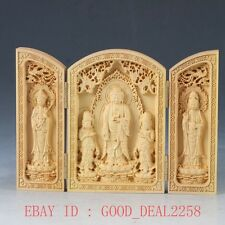 Chinese Boxwood Highly Difficulty Carved Three Gods Floding Box FK06