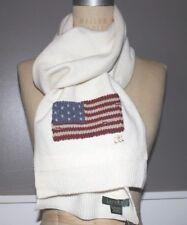 NWT RALPH LAUREN 70x9 Women's Cream Wool Blend CLASSIC FLAG Logo Winter Scarf