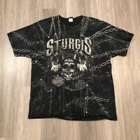 Harley Davidson 2013 Sturgis Mens 2XL All Over Print Black T Shirt Skull Chains