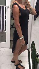 Bassike Women's Tank low Scoop Back Dress Black Organic Cotton  Size XS