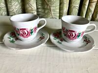 2 Vintage Corelle Tea Cup Saucer ROSE PORTRAIT Corning Sets Excellent Condition