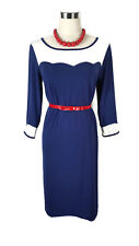 LEONA EDMISTON Dress - Navy Blue White Vintage Style Shift Boat Stretch - 8/10