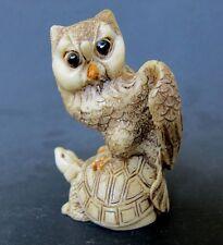 Vintage Japanese ivory colored bone netsuke/okimono-Feisty Owl Bird on Turtle