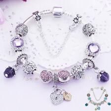European Purple Pink Diamante Charm Bracelet Crystal Ball Love Heart Beads Chain