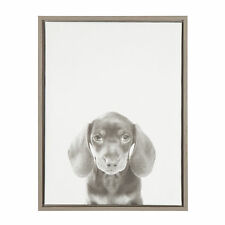 Black and White Dachshund Puppy Portrait Gray Framed Canvas Wall Art by Simon Te