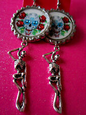 Day Of The Dead Sugar Skull With Skeleton Dangle Charm Earrings #20