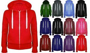 Ladies Girl Zip Up Sweatshirt Hooded Hoodie Coat Jacket  PLUS SIZE Top Jacket