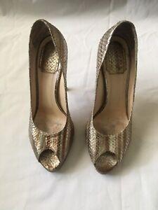 Christian Dior Gold Snakeskin Logo Peep toe Pumps Shoes Heels Size 37