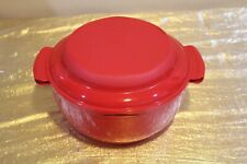 New Tupperware UNIQUE Microwave Steamer Bowl Red 10 Cups