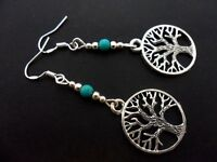A PAIR OF TIBETAN SILVER TREE OF LIFE EARRINGS & 925 SOLID SILVER HOOKS. NEW..