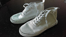 2nd Hand DIVIDED by H&M White Canvas SNEAKERS Ladies Shoes EU European Size 37