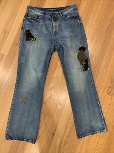 Lauren Jeans Co. Blue Denim Womens Size 12 Patchwork High Rise Bootcut Jeans