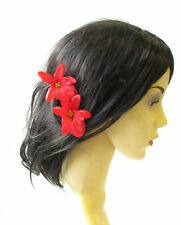 2 x Red Cattleya Orchid Flower Hair Pins Vintage Rockabilly Clip Bridal 50s 1475