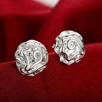 Wholesale Stunning 925 Sterling Silver Filled Solid Womens Flower Stud Earrings