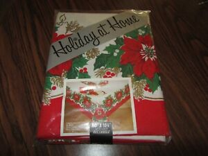 """NEW HOLIDAY AT HOME FABRIC TABLECLOTH 60"""" X 102"""" Rectangle- Candle Glow #8059"""