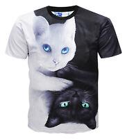 Pizoff Unisex Katze Druck T-Shirts mit Karikatur 3D Druckmuster