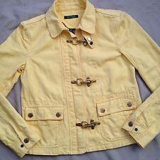 Women's Ralph Lauren Yellow Cotton Linen Denim Jacket Fireman Toggle Size Small