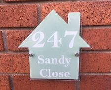 House Shaped Shabby Chic House Sign Address Number Plaque Range of Colours