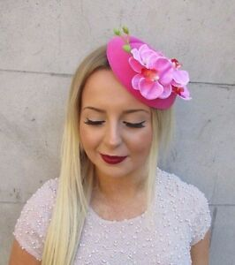 Hot Pink Orchid Flower Pillbox Hat Fascinator Races Headpiece Rockabilly 2568