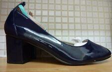 La Redoute Mademoiselle R Block Heel Patent Court Shoes Size 6.5/40 BNWT Navy