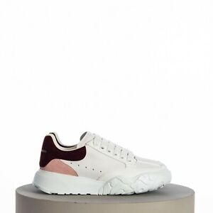ALEXANDER MCQUEEN 490$ Court Trainer In White Nappa Leather Rose & Wine Details