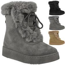 Womens Ladies Winter Ankle Boots Fur Fleece Lining Snow Ski Flatforms Shoe Size