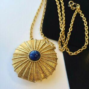 Vintage Estee Lauder Gold Tone Necklace Solid Perfume Pendant Chain Necklace 24