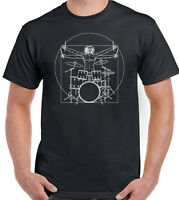 Drumming T-Shirt Drummer Vitruvian Man Mens Funny Drums Drum Kit Stick