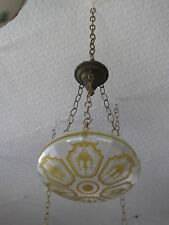 ETCHED IRIDESCENT DOME SHADE WITH GOLDEN FLORAL BASKETS  5754