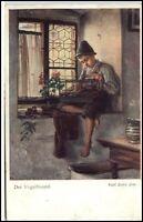 """Künstlerkarte um 1910/20 Wiener Kunst Künstler Karl Zewy """"der Vogelfreund"""" AK"""