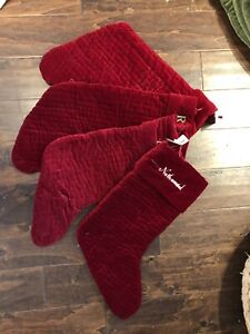 New Pottery Barn Channel Quilted Velvet Red Medium Stocking Set 4 Read*