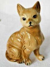 """Cornish Rex Cat Figurine, Brown, Ceramic, 3 1/2"""", Vintage Exc."""