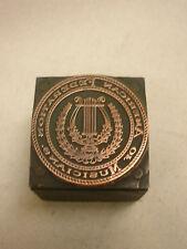 "Vintage Printers Block American Federation of Musicians 1"" X 1"" Stamp Harp"