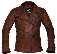 Demi Women Ladies 3/4 Motorcycle Biker Brown Distressed Vintage Leather Jacket
