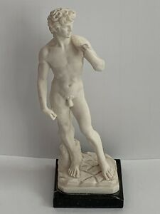 """Classic Sculptured 6.5"""" Figure~David w/ Sling Black Marble Base A. Santini Italy"""