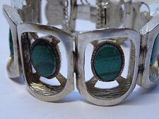 Modernist Armband Silber Bracelet Malachit grün Edelstein Design 19cm Nr. 251