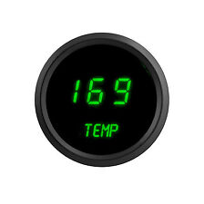 LED Digital WATER TEMPERATURE GAUGE W/ Sender GREEN LEDs BLACK Bezel Dash Auto !