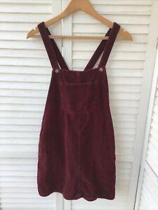 TOPSHOP MOTO DUNGAREE SKIRT Dark Burgundy Red Corduroy Dress Cord Sz 12 Pockets